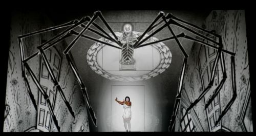 Erika Miklosa as The Queen of the Night (spider on top) with Janai Brugger as Pamina below. Photo: Robert Millard